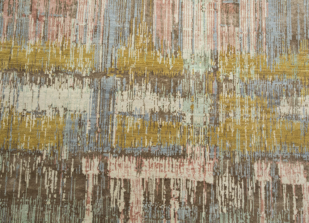 unstring by kavi ivory wool and bamboo silk hand knotted Rug - CloseUp