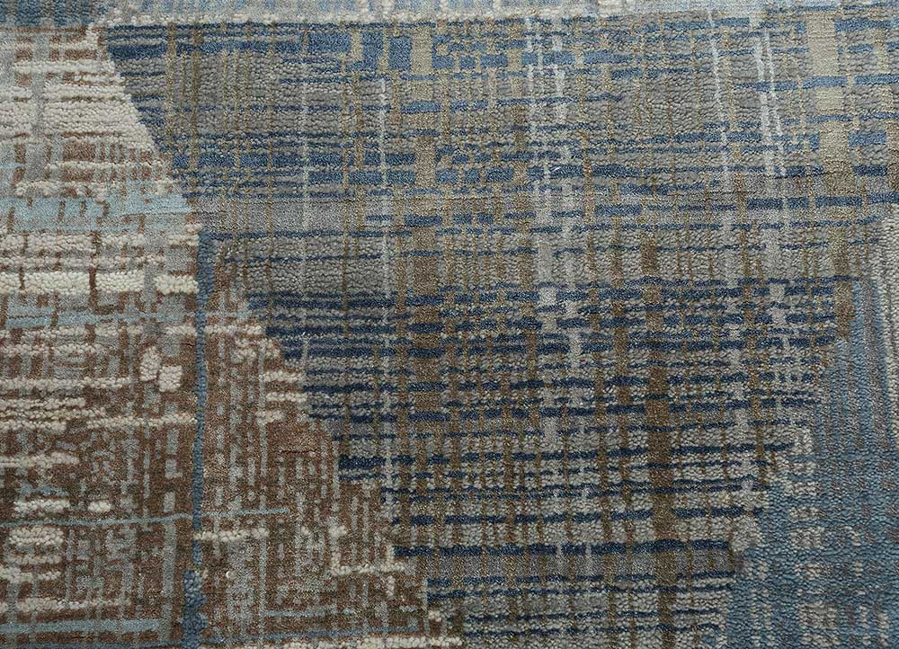 unstring by kavi blue wool and bamboo silk hand knotted Rug - CloseUp