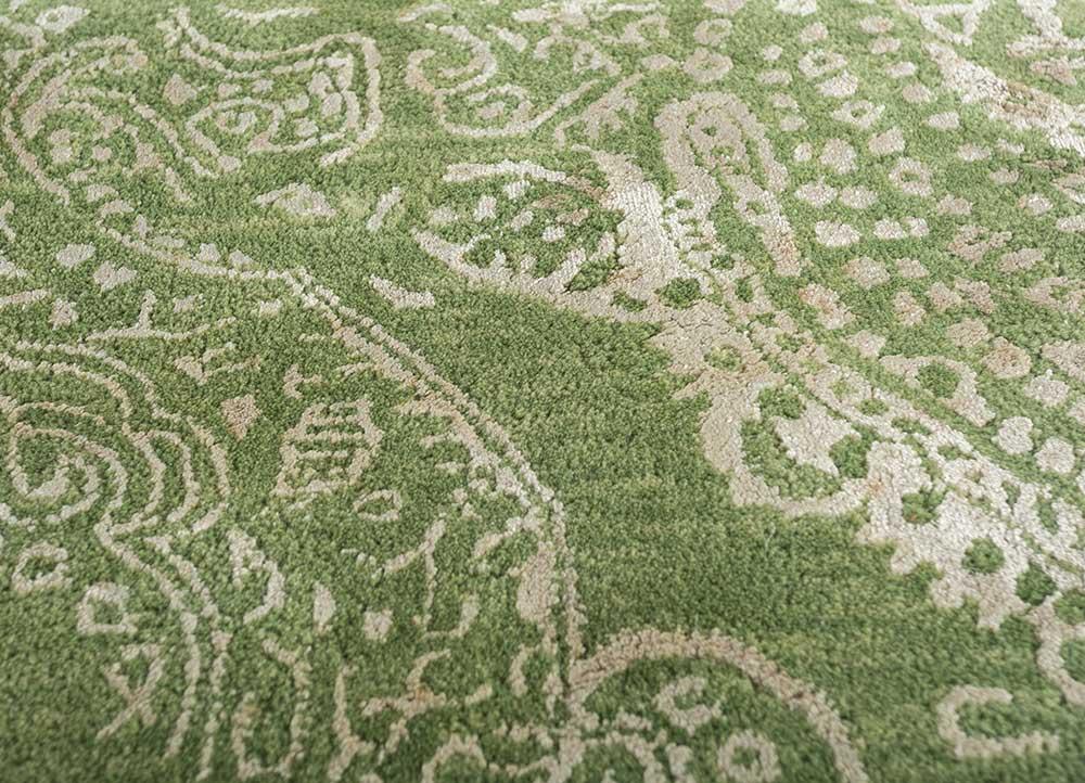 kilan green wool and viscose hand tufted Rug - CloseUp