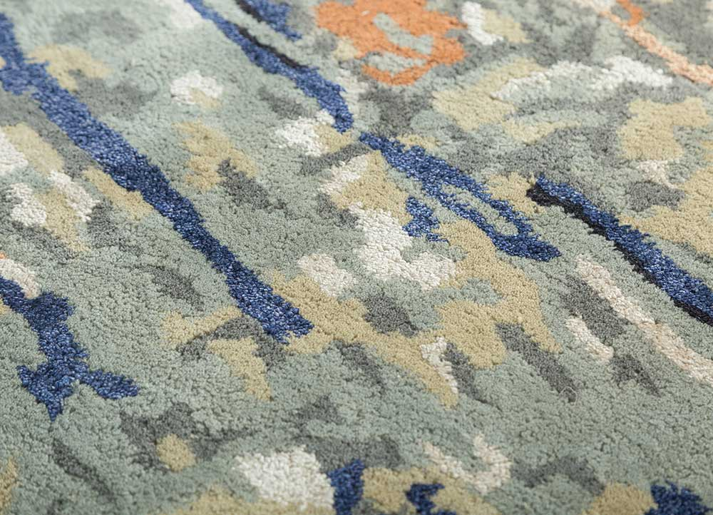 transcend green wool and viscose hand tufted Rug - CloseUp