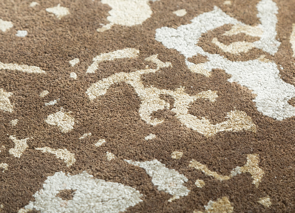 transcend beige and brown wool and viscose hand tufted Rug - CloseUp