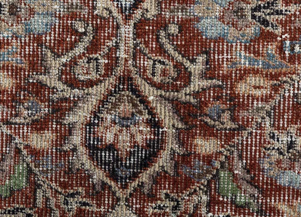 vintage red and orange wool hand knotted Rug - CloseUp