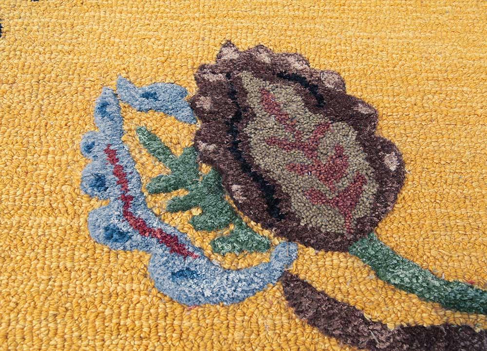hacienda gold wool and viscose hand tufted Rug - CloseUp