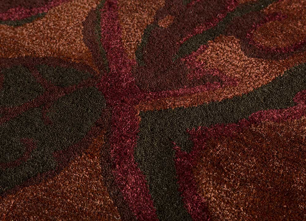 hacienda red and orange wool and viscose hand tufted Rug - CloseUp