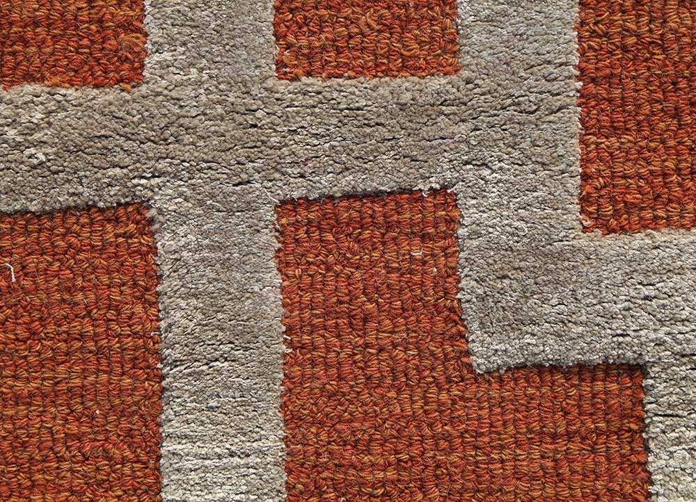 contour red and orange wool and viscose hand tufted Rug - CloseUp