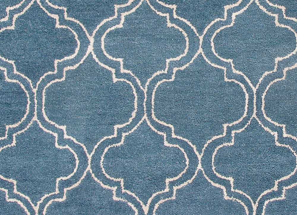 contour blue wool and viscose hand tufted Rug - CloseUp