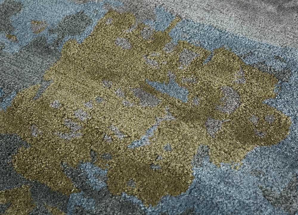genesis blue wool and viscose hand tufted Rug - CloseUp