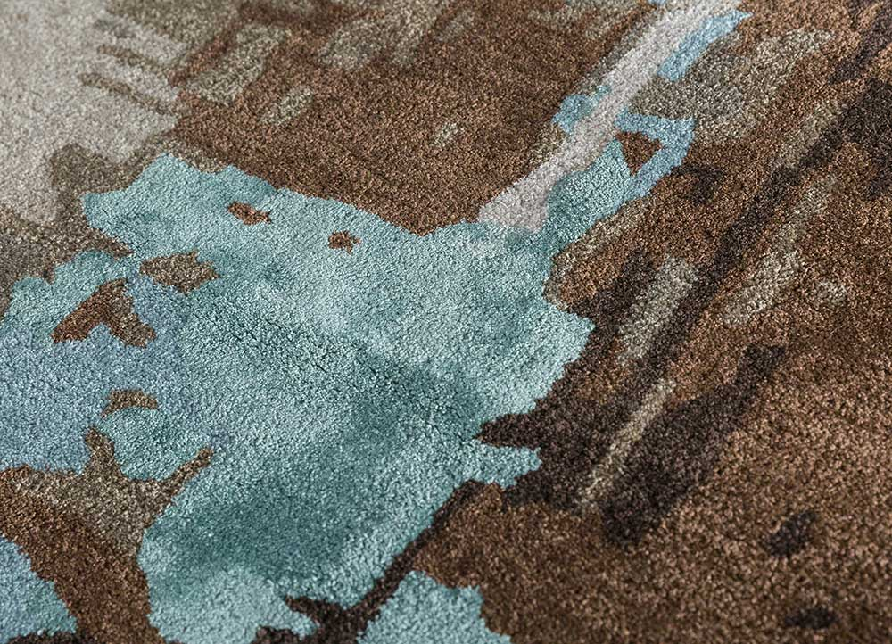 genesis beige and brown wool and viscose hand tufted Rug - CloseUp
