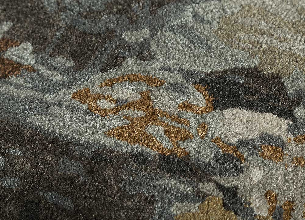 genesis grey and black wool and viscose hand tufted Rug - CloseUp