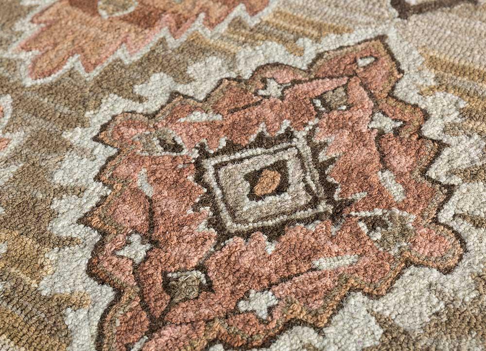 mythos ivory wool hand tufted Rug - CloseUp