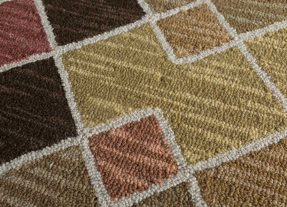 traverse beige and brown wool hand tufted Rug - CloseUp