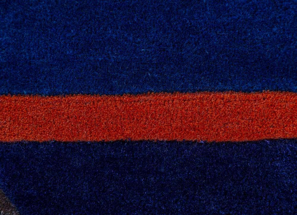jaipur wunderkammer blue wool and viscose hand tufted Rug - CloseUp