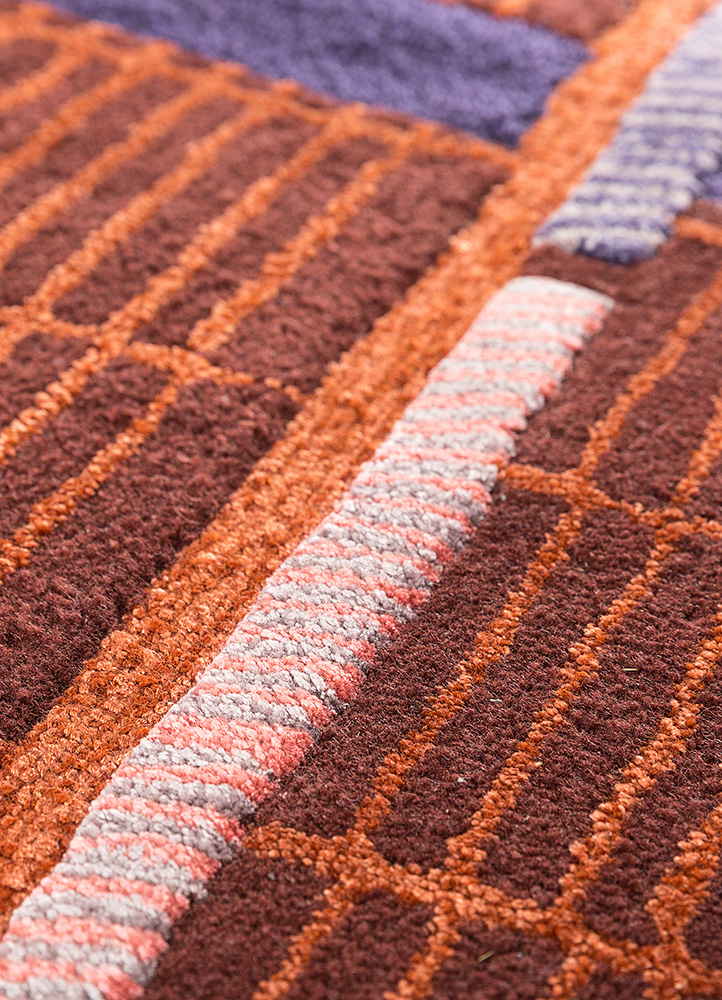 jaipur wunderkammer red and orange wool and viscose hand tufted Rug - CloseUp