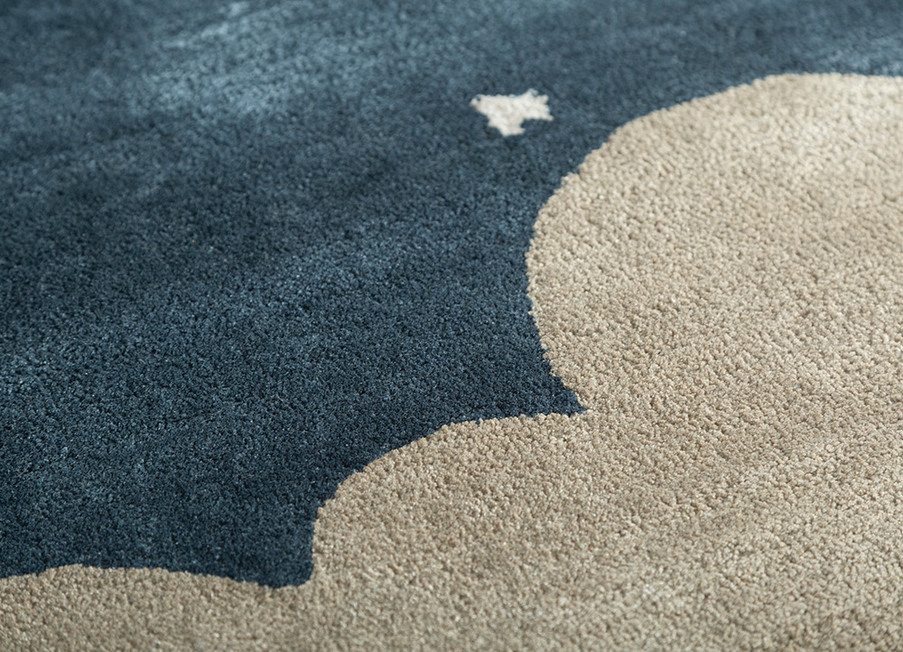 confetti grey and black wool and viscose hand tufted Rug - CloseUp