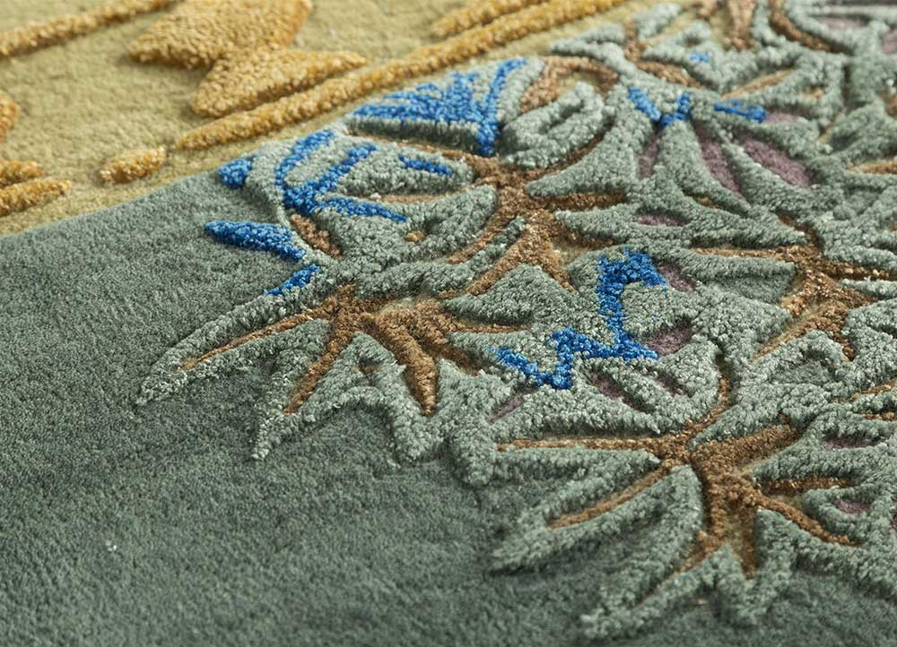 jaipur wunderkammer green wool and viscose hand tufted Rug - CloseUp