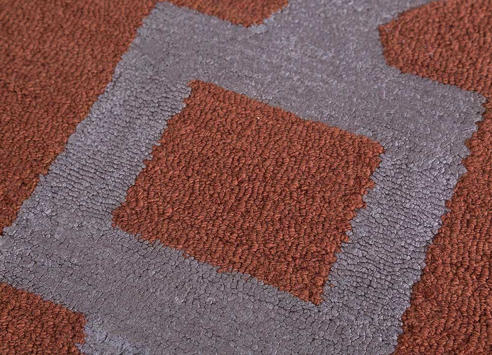 contour red and orange wool and bamboo silk hand tufted Rug - CloseUp