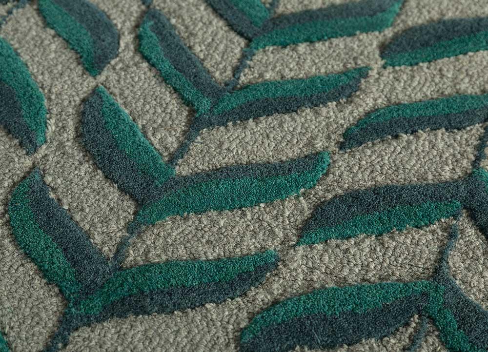 coastal green wool hand tufted Rug - CloseUp
