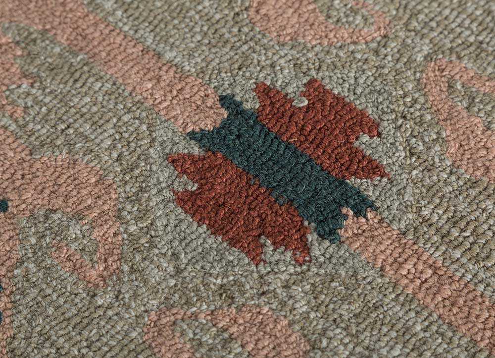 mythos red and orange wool and viscose hand tufted Rug - CloseUp