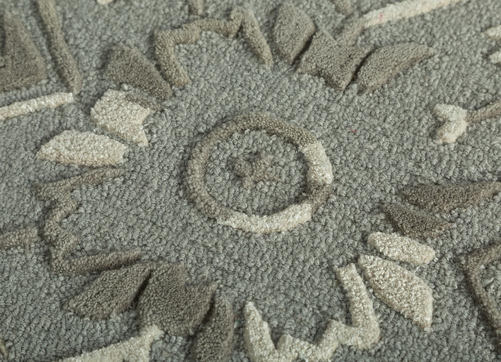 kilan blue wool and viscose hand tufted Rug - CloseUp