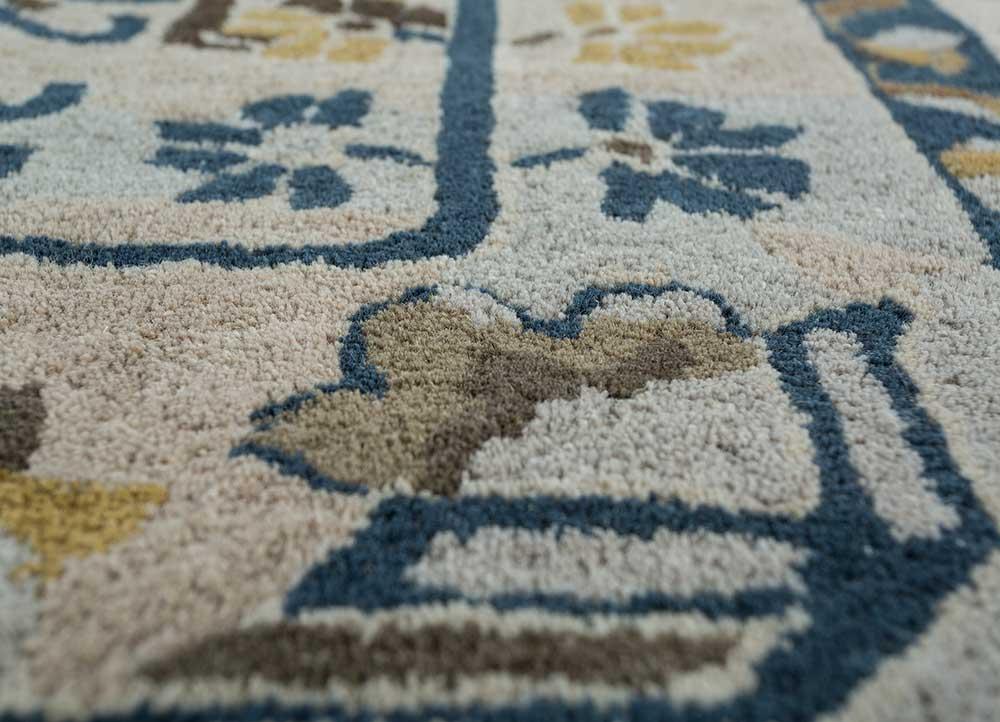 kilan blue wool hand tufted Rug - CloseUp