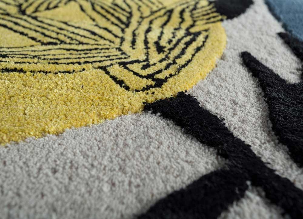 coastal ivory wool and viscose hand tufted Rug - CloseUp