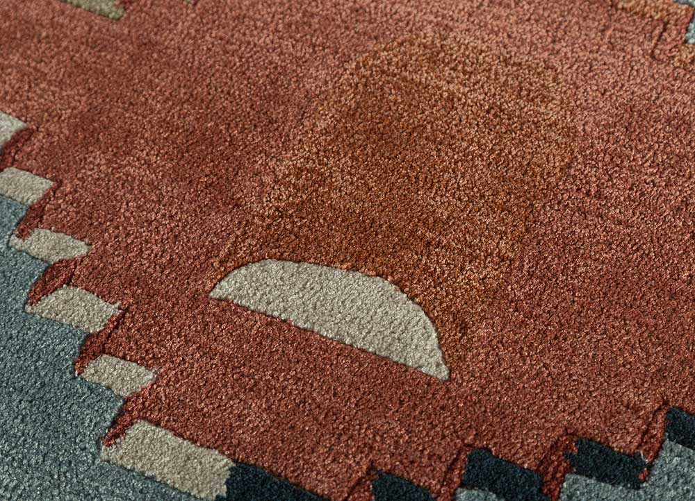 confetti blue wool and viscose hand tufted Rug - CloseUp