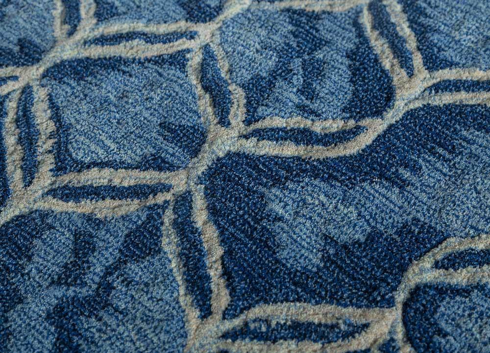 contour blue wool hand tufted Rug - CloseUp