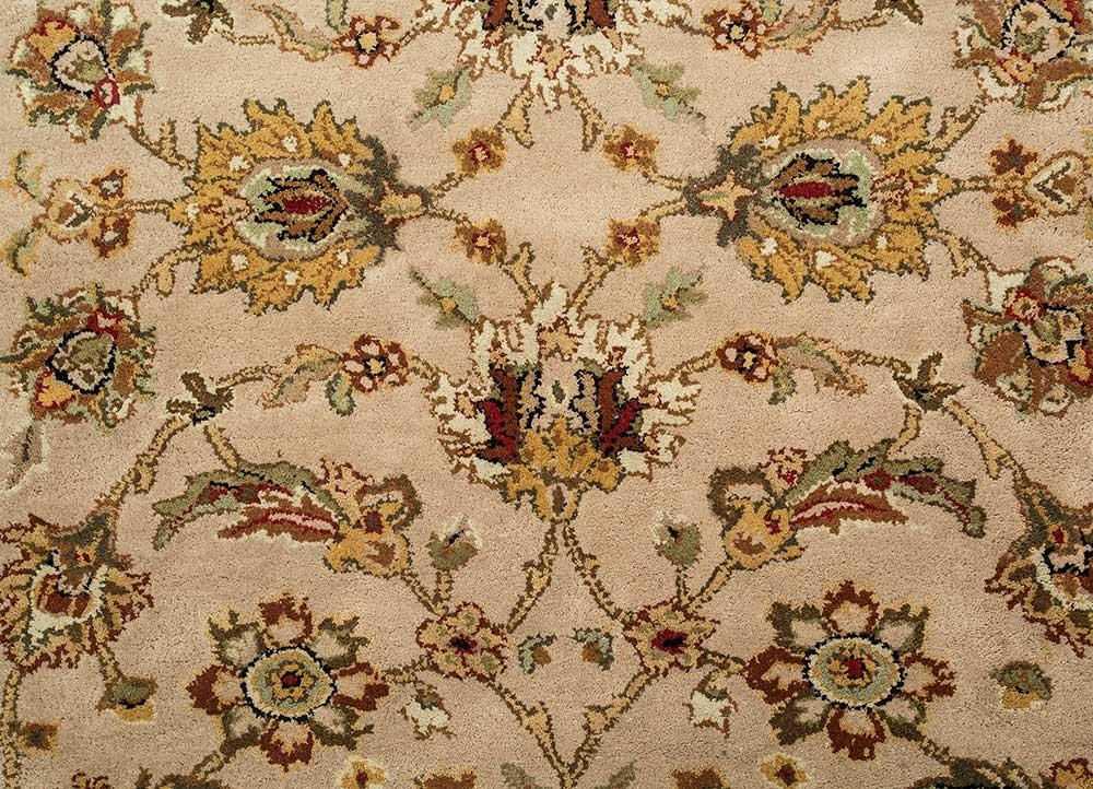 mythos beige and brown wool hand tufted Rug - CloseUp