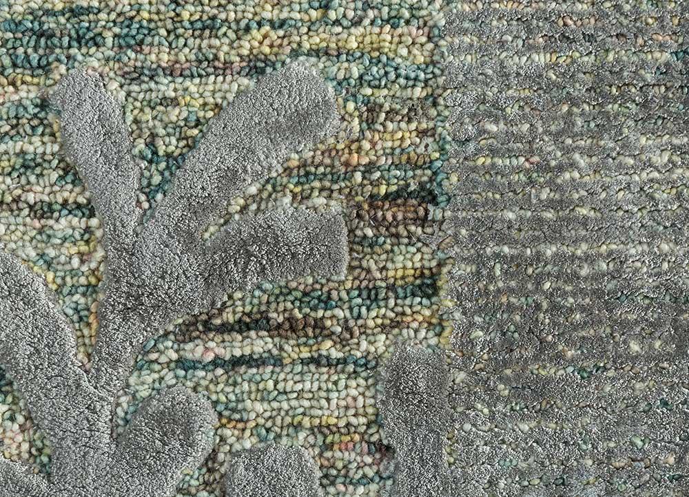 coastal green wool and viscose hand tufted Rug - CloseUp