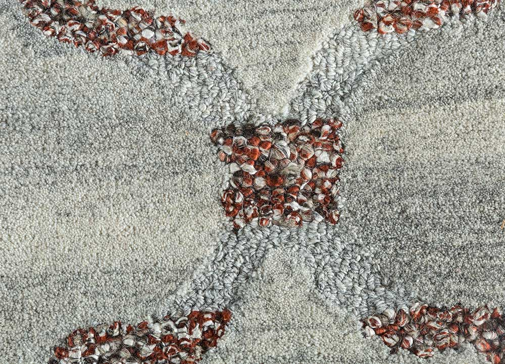 contour beige and brown wool and viscose hand tufted Rug - CloseUp