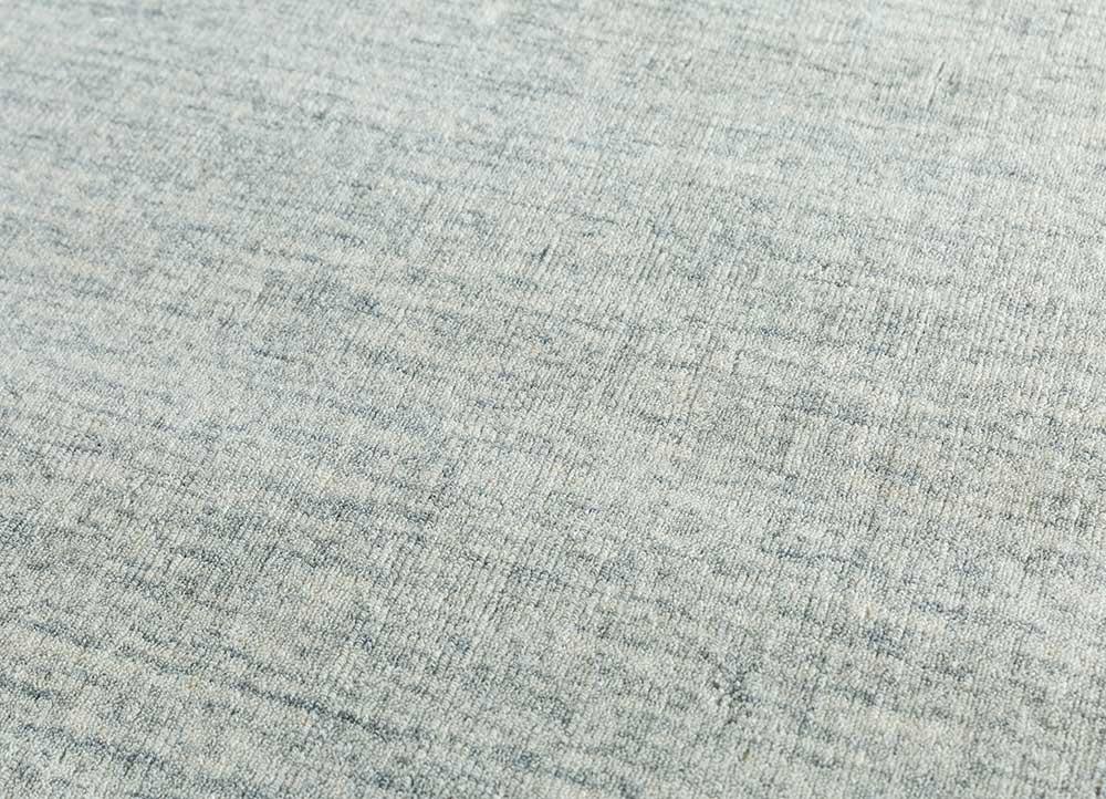 eron blue wool hand loom Rug - CloseUp