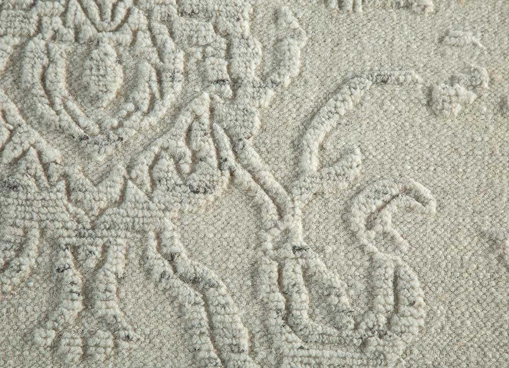 eden ivory wool hand knotted Rug - CloseUp