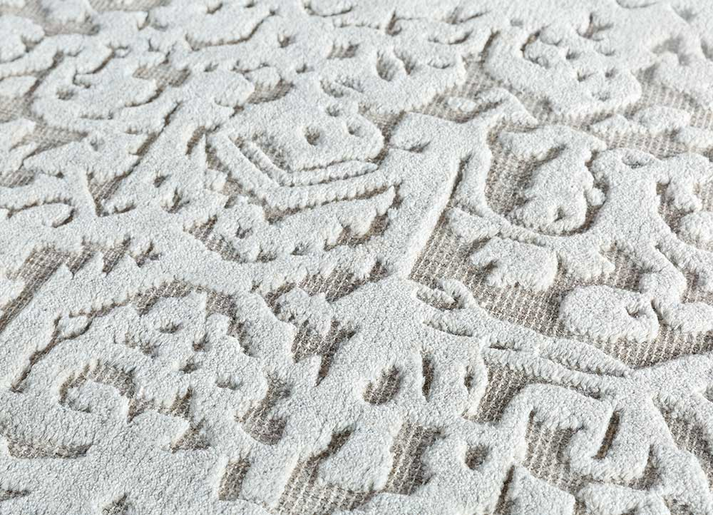 eden grey and black wool and viscose hand knotted Rug - CloseUp