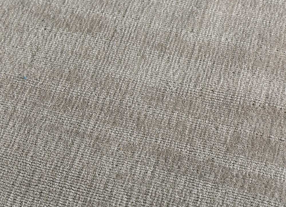 konstrukt grey and black wool and bamboo silk hand loom Rug - CloseUp