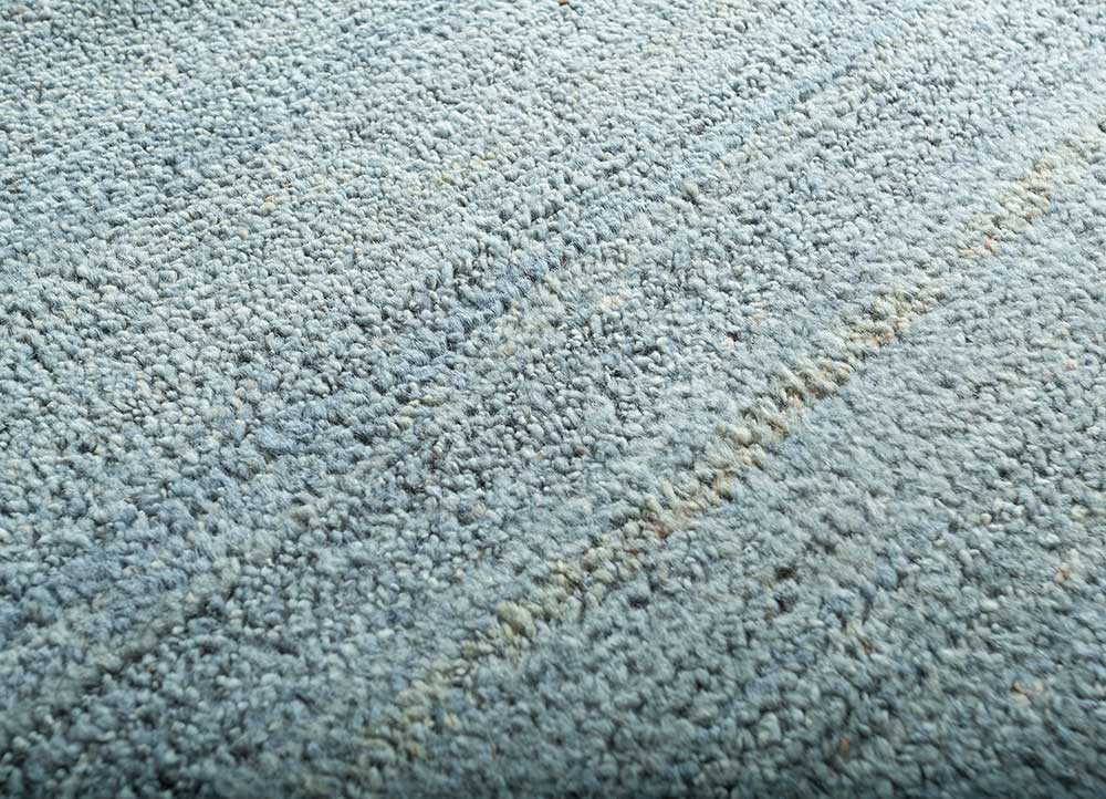 legion blue wool hand knotted Rug - CloseUp