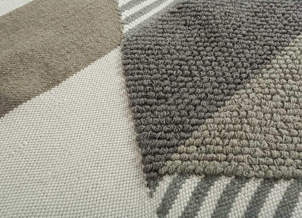 heritage ivory wool flat weaves Rug - CloseUp
