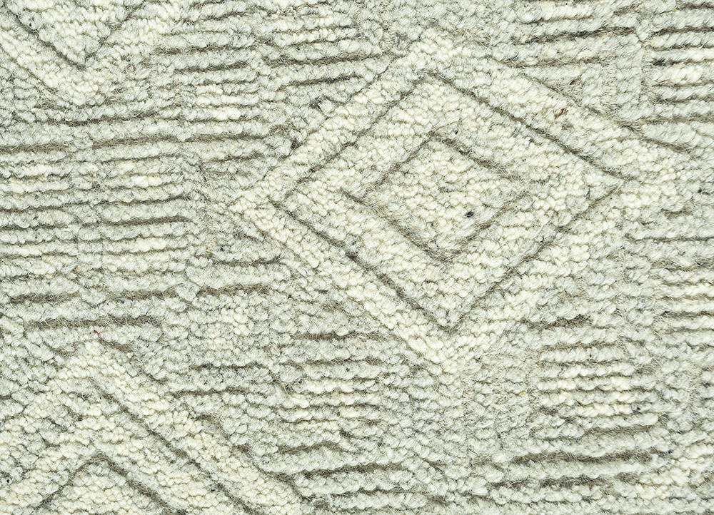 revolution ivory wool hand knotted Rug - CloseUp