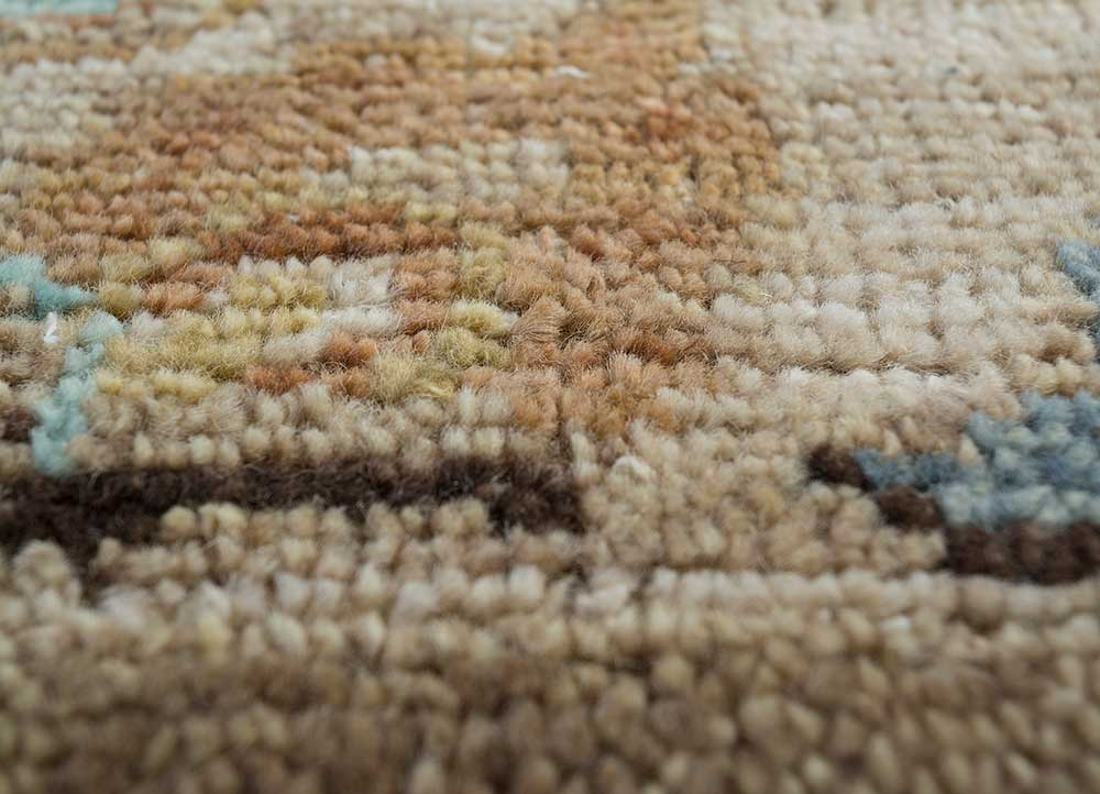 erbe beige and brown wool hand knotted Rug - CloseUp