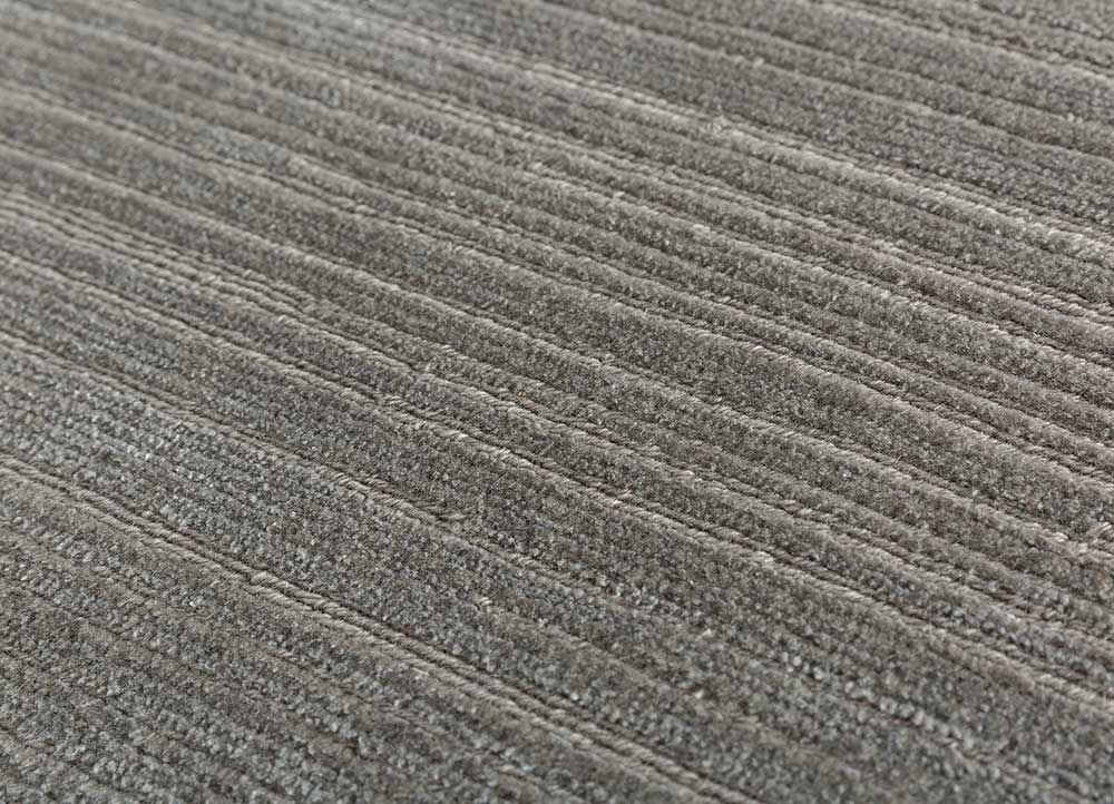 legion grey and black wool and bamboo silk hand knotted Rug - CloseUp