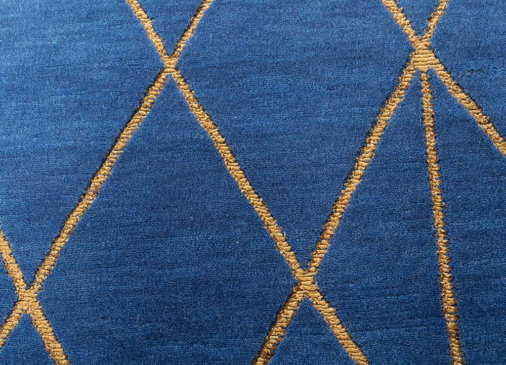jaipur wunderkammer blue wool and bamboo silk hand knotted Rug - CloseUp