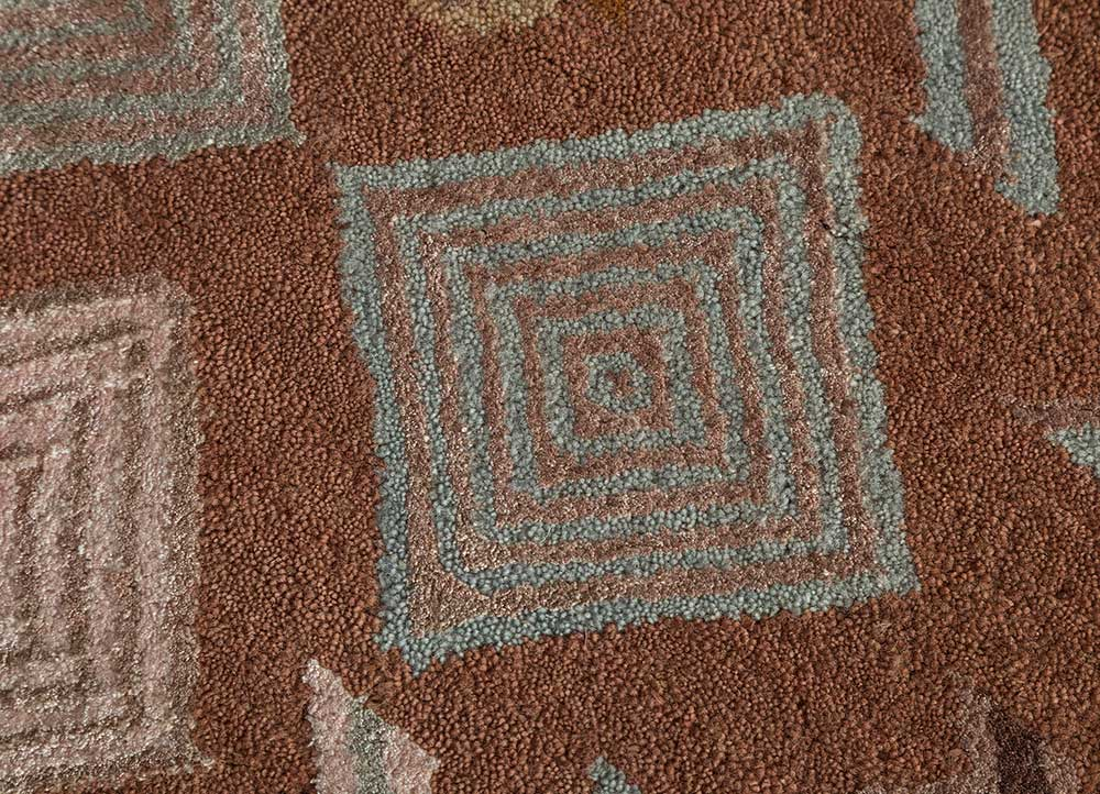 artisan originals pink and purple wool and bamboo silk hand knotted Rug - CloseUp
