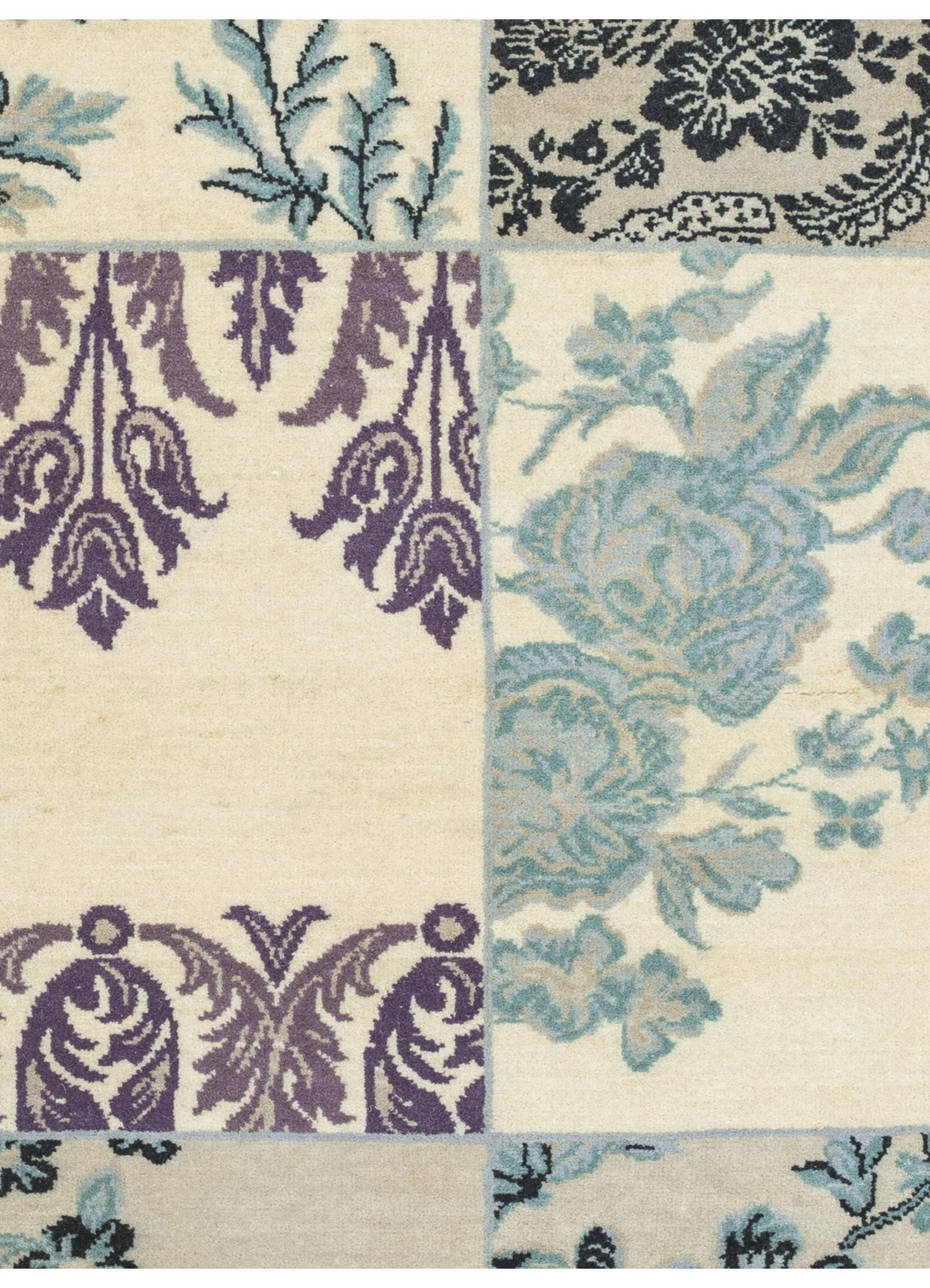 blithe blue wool hand knotted Rug - CloseUp