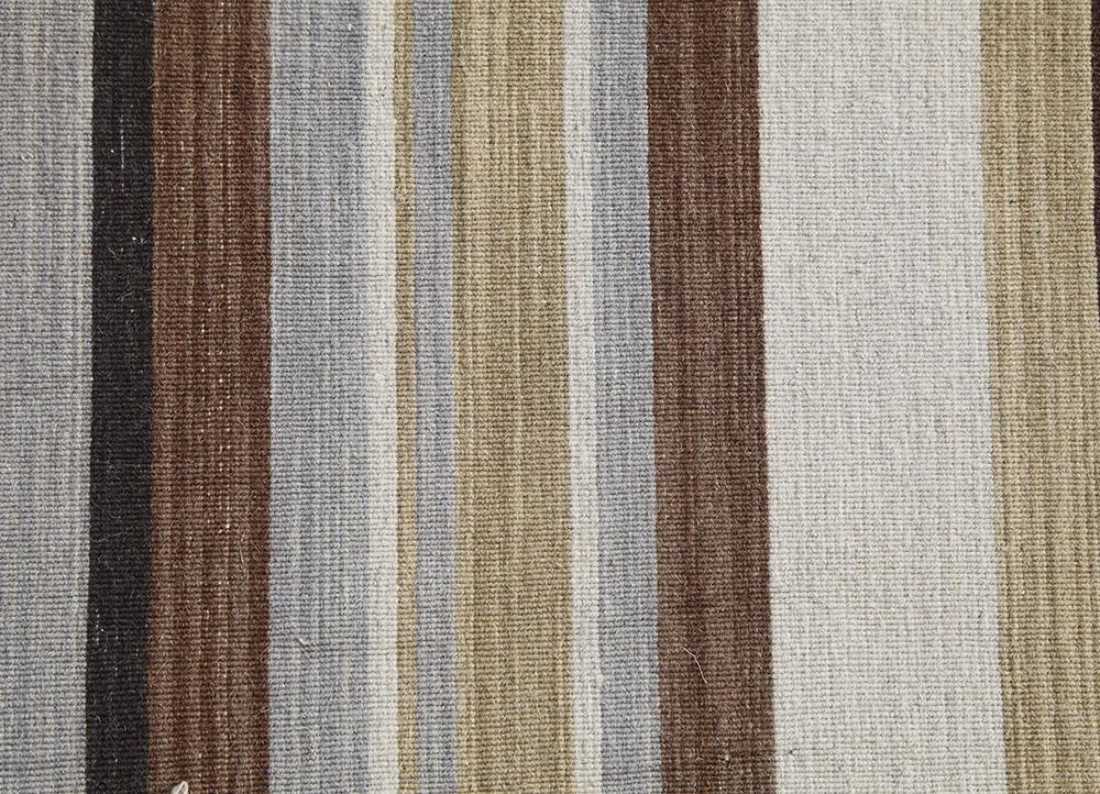 aqua beige and brown wool flat weaves Rug - CloseUp