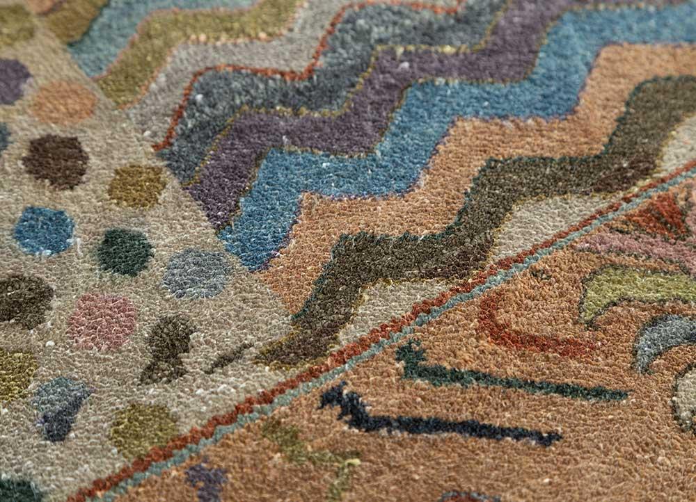 artisan originals red and orange silk hand knotted Rug - CloseUp