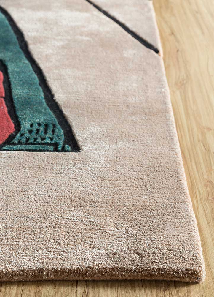 concoction red and orange wool and viscose hand tufted Rug - Corner