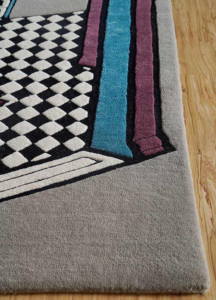 concoction grey and black wool and viscose hand tufted Rug - Corner