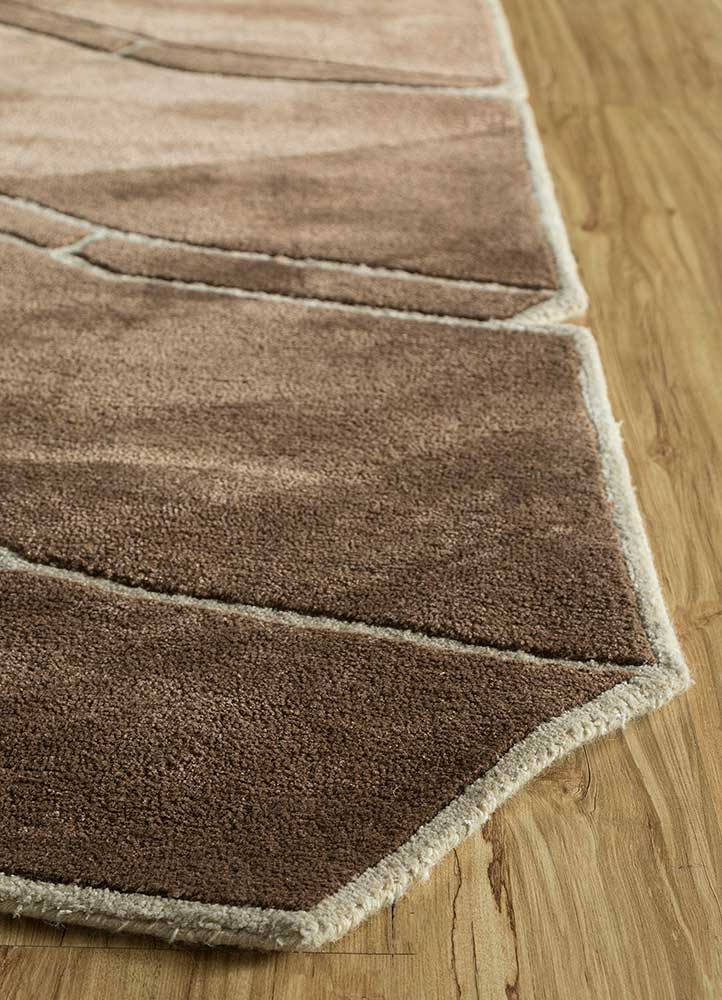 archetype red and orange wool and viscose hand tufted Rug - Corner