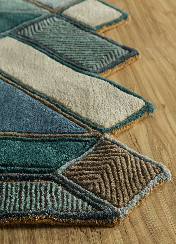 archetype blue wool and viscose hand tufted Rug - Corner
