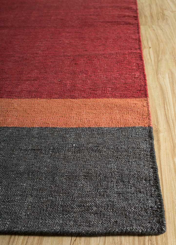 heritage red and orange wool and bamboo silk flat weaves Rug - Corner