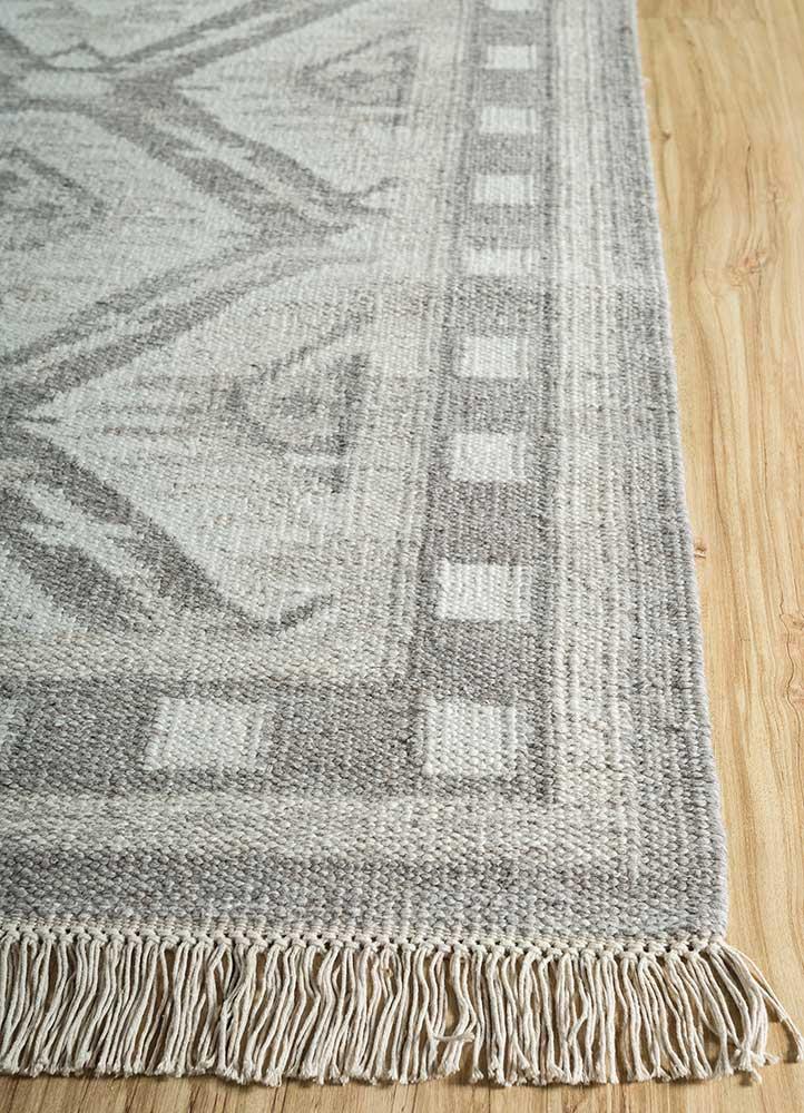bedouin grey and black wool and viscose flat weaves Rug - Corner